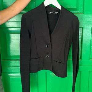 Black Button Cropped Jacket